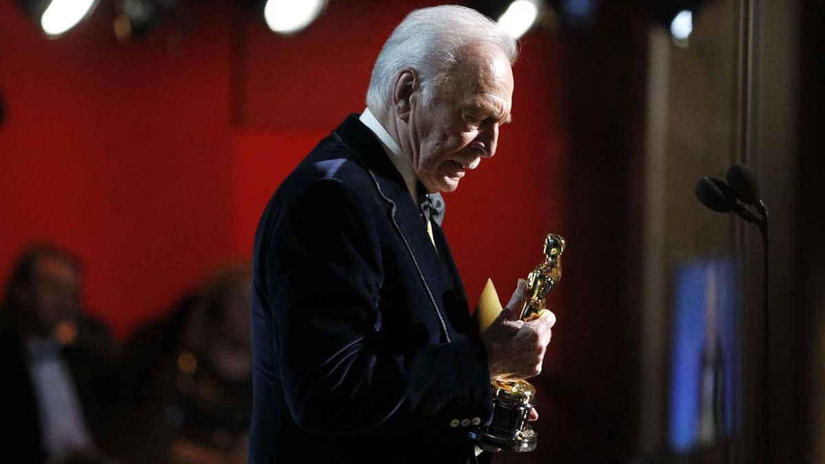 Christopher Plummer accepts the Oscar for best actor in a supporting role at the 2012 Academy Awards on Sunday.