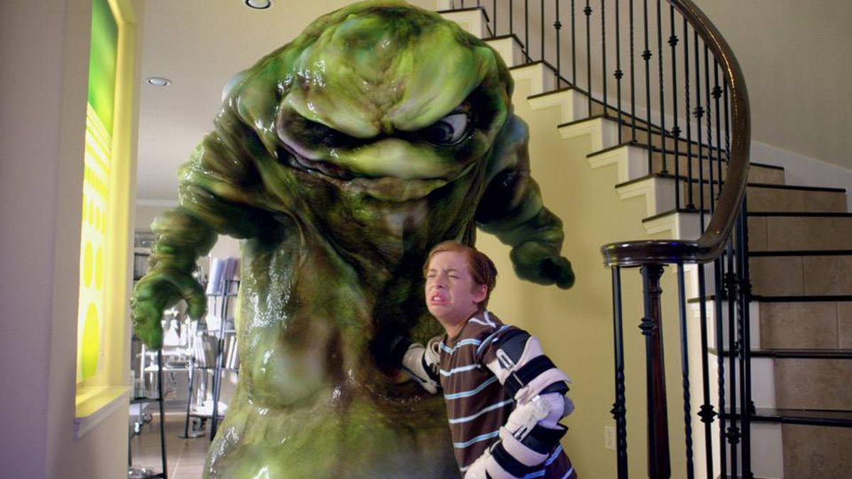 Toe Thompson (Jimmy Bennett) gets up close and personal with the giant booger.
