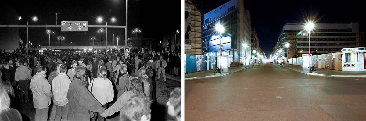 Combination photo of Allied checkpoint Charlie near the Berlin Wall in Berlin