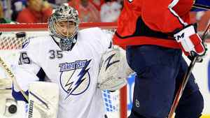 Dwayne Roloson #35 of the Tampa Bay Lightning makes a save in the first period . (Photo by Greg Fiume/Getty Images)