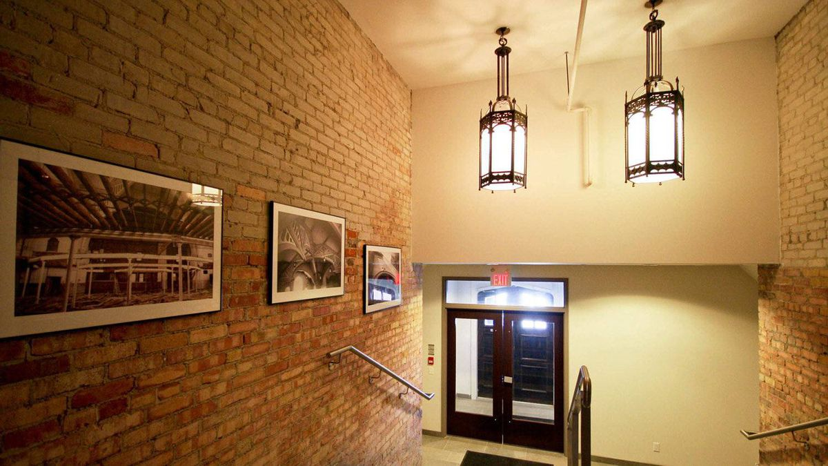 Victoria Lofts lobby with original church fixtures.