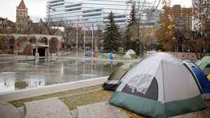 Occupy Calgary moved into the city-owned public space on the first day of the Global Occupy announcement.