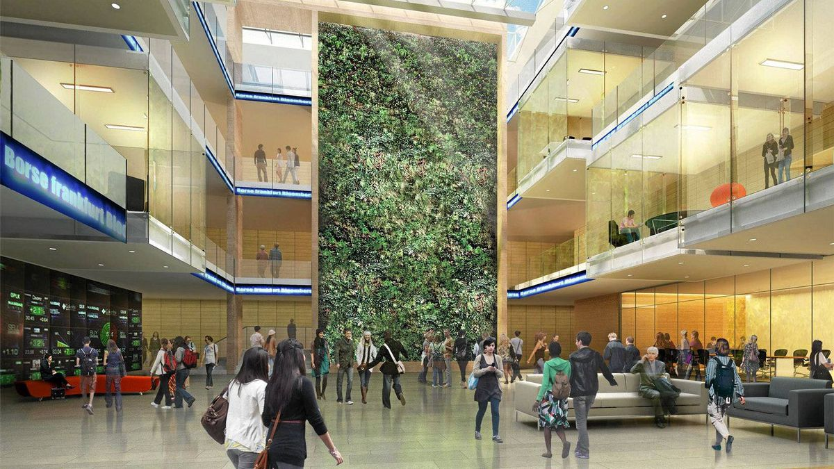 Interior Green wall drawing. Renderings are courtesy of Wilfrid Laurier University.