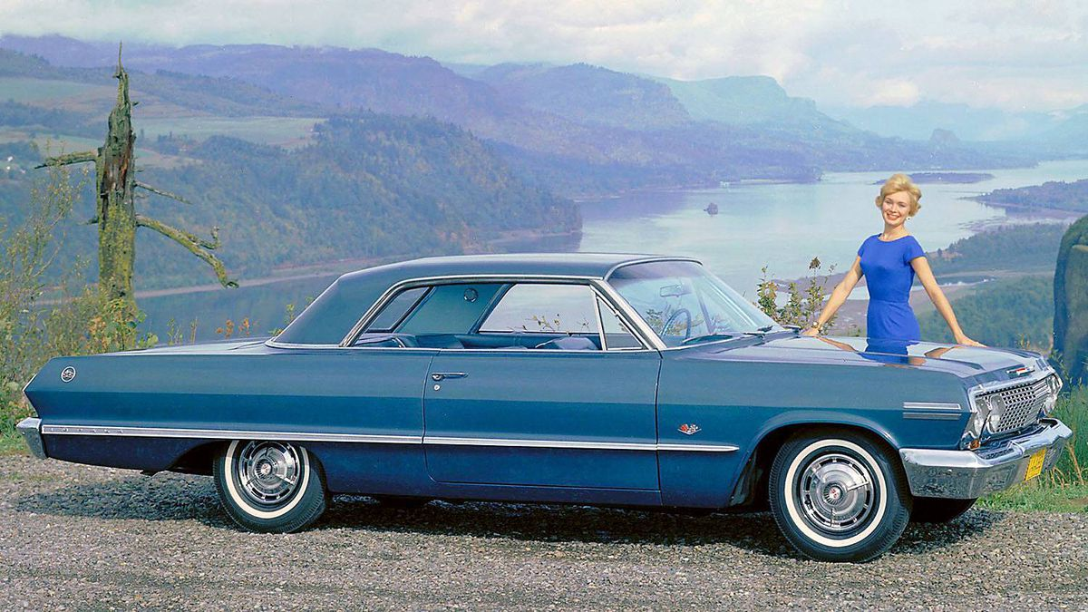 "1963 Chevrolet Impala. Introduced in 1961, the SS, or Super Sport verion of the car helped kick off the muscle car era. Its 360-horsepower, 409 V-8 engine inspired the Beach Boys' hit song ""409."""