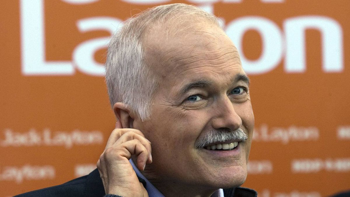 NDP Leader Jack Layton takes a question at a campaign stop in Winnipeg on April 27, 2011.