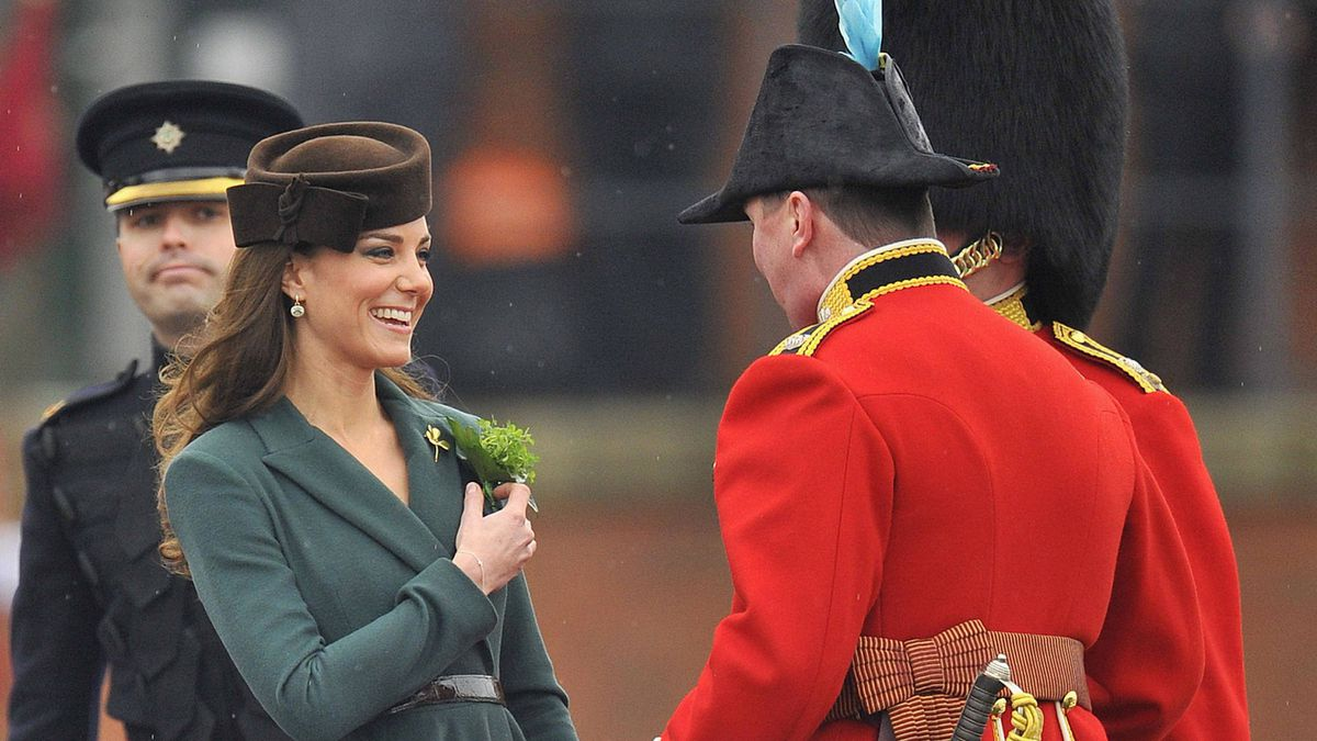 Catherine, Duchess of Cambridge, was at Aldershot army base in southern England to present shamrocks to members of the 1st Battalion Irish Guards, a St. Patrick's Day tradition.