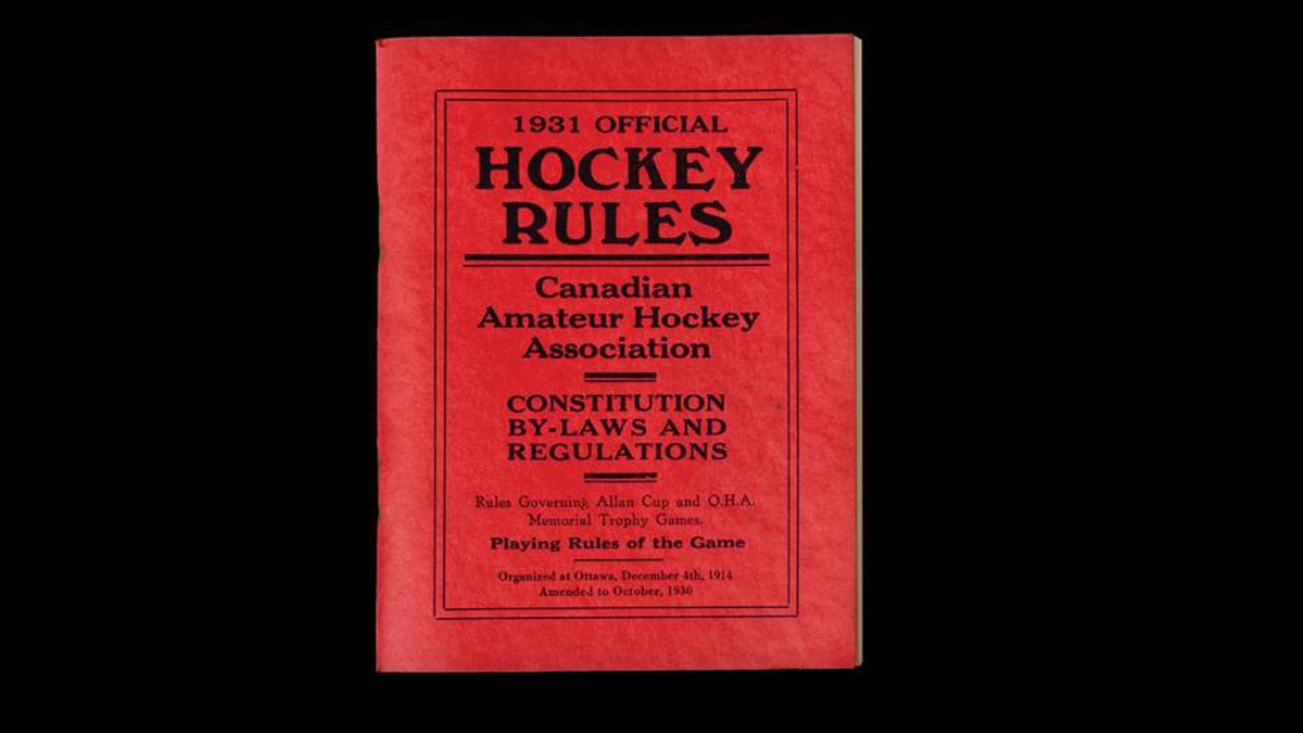 This 1931 rule book from the Canadian Amateur Hockey Association was found in a time capsule at Maple Leaf Gardens.