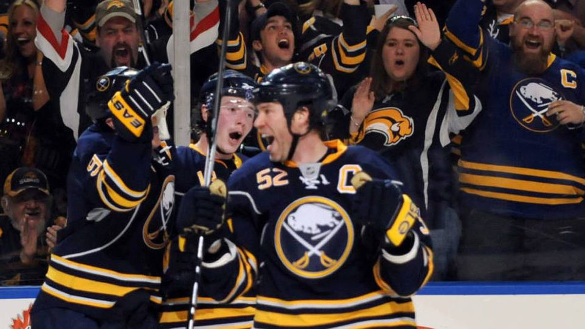 Buffalo Sabres celebrate a second period goal by defenseman Craig Rivet during second period action against the Boston Bruins during their NHL Eastern Conference quarter-final in Buffalo, New York April 15, 2010.