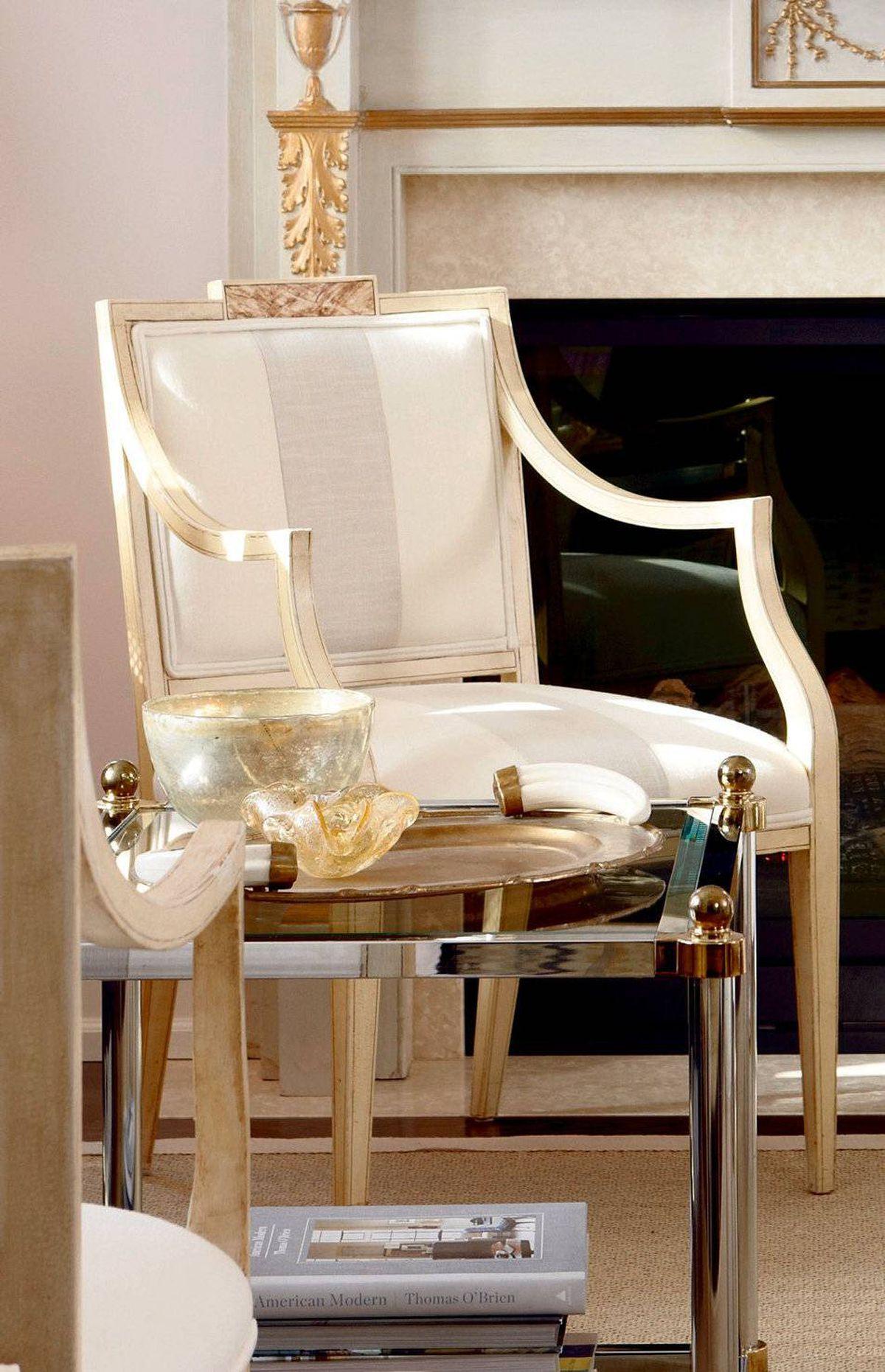 WHERE TO BUY Pair of cream painted armchairs, square wood side tables, Chair Table Lamp (www.chairtablelamp.blogspot.com). Fabrics, Designer Fabrics (www.designerfabrics.ca).