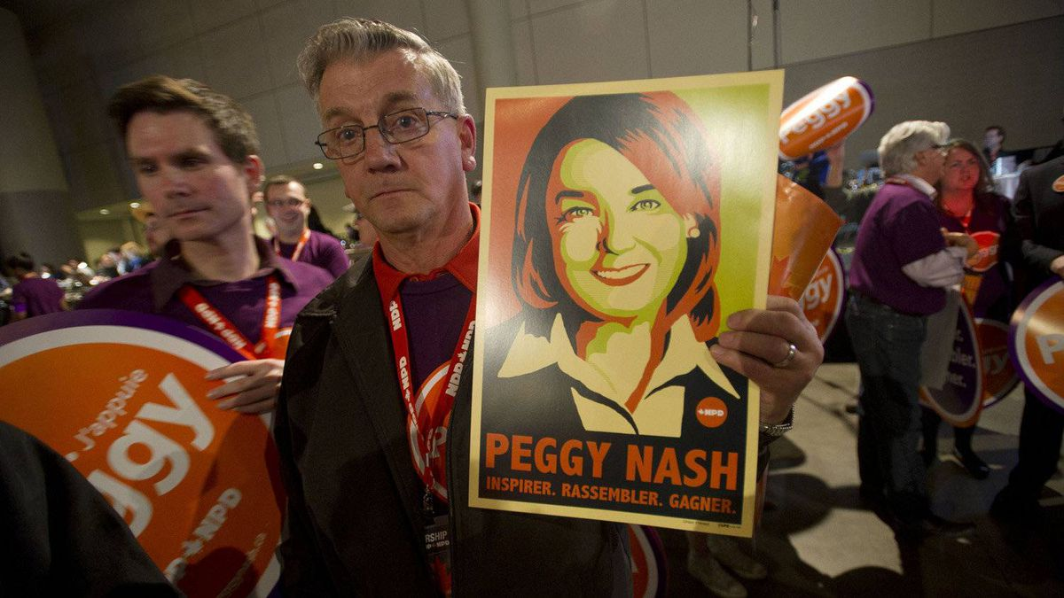 A supporter waits for candidate Peggy Nash to be announced at the NDP leadership convention at the Metro Toronto Convention Centre in Toronto, Ont. Friday, March 23, 2012.