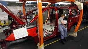 An assembly line at Chrysler's minivan plant in Windsor, Ont.