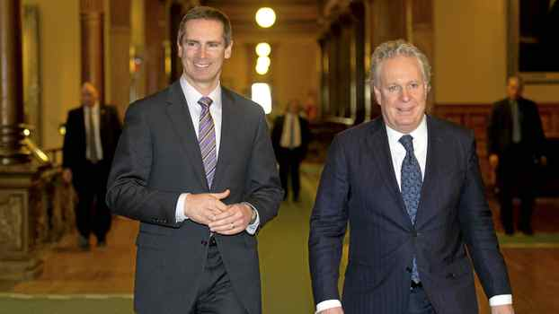 Ontario Premier Dalton McGuinty, left, and Quebec Premier Jean Charest are seen following a meeting at Queen's Park in Toronto, Ont. March 5, 2012.