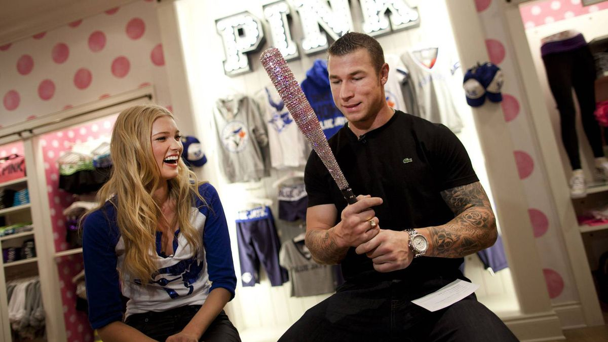 Toronto Blue Jay Brett Lawrie and Victoria's Secret model Elsa Hosk pose in Toronto to promote the MLB Victoria's Secret PINK co-branded line that now features the Toronto Blue Jays.
