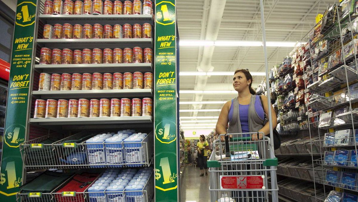 A shopper browses the aisles at the Dollarama in Vaughan, Ont.