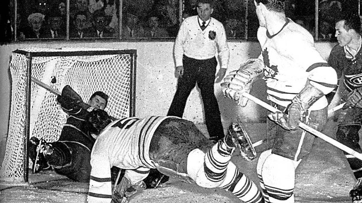 Bill Barilko, centre, is shown scoring the winning goal in overtime for the Toronto Maple Leafs in Game five of the 1951 Stanley Cup final against the Montreal Canadiens in this handout photo. (CP PHOTO/Timmins Daily Press-HO)