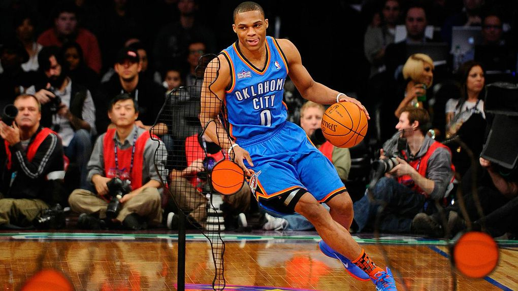 56bbeb28c125 ... Russell Westbrook  0 of the Oklahoma City Thunder competes in the Taco  Bell Skills Challenge