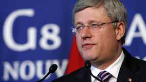 Prime Minister Stephen Harper speaks during a news conference at the G8 summit in Deauville, France, on May 27, 2011.