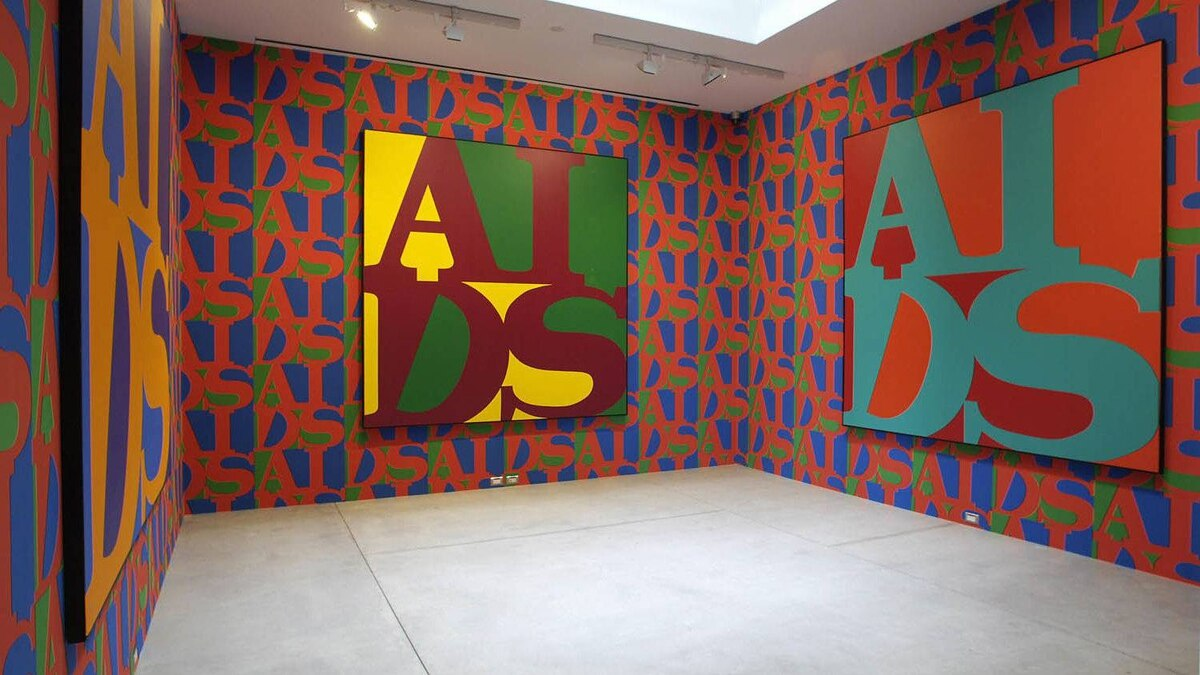 AIDS (installation view) 1987 silkscreen wallpaper various dimensions AIDS (installation view) 1988 acrylic on canvas 243.7 x 243.7 cm Gift of Robert and Lynn Simpson, 1997