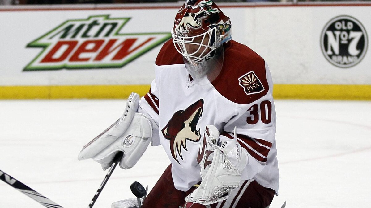 Phoenix Coyotes goalie Ilya Bryzgalov (30), of Russia, stops a shot by the Anaheim Ducks in the second period of an NHL hockey game in Anaheim, Calif., Sunday, March 13, 2011. The Coyotes won 5-2.