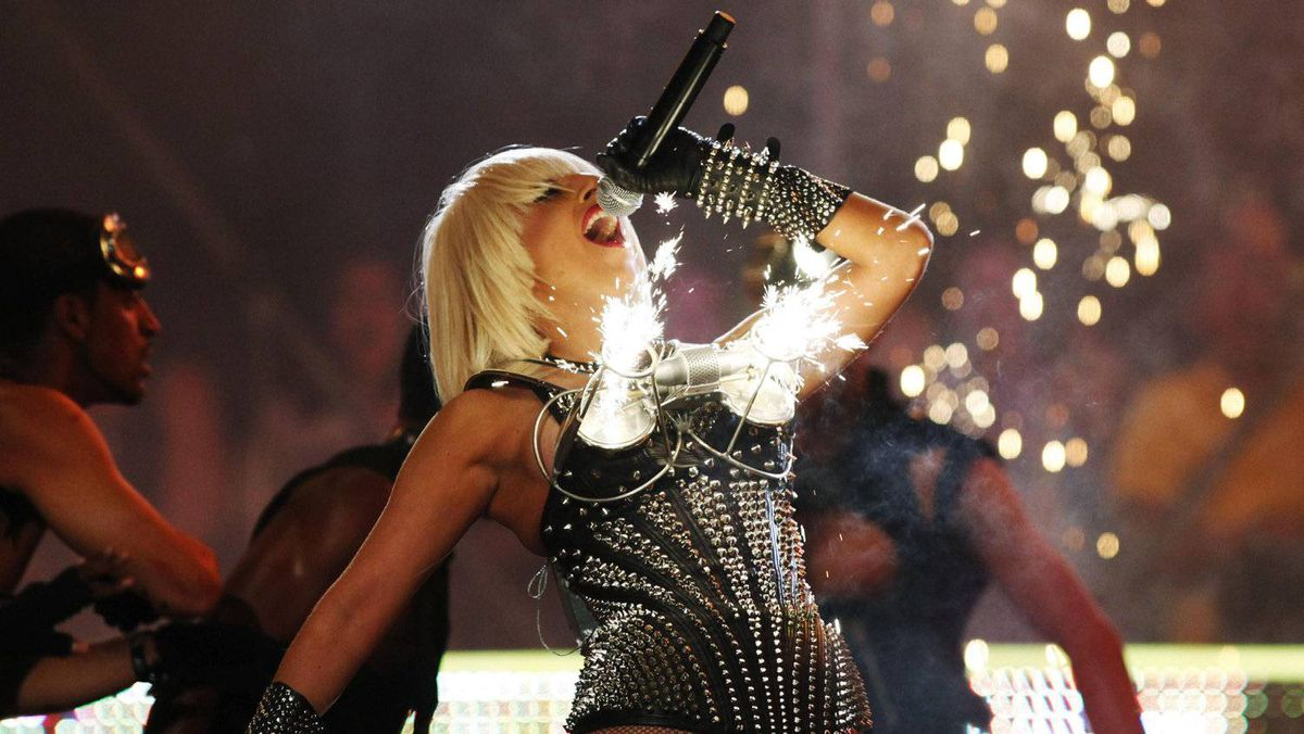 Lady Gaga performs as pyrotechnics go off from her bustier during the 2009 MuchMusic Video Awards in Toronto June 21, 2009.