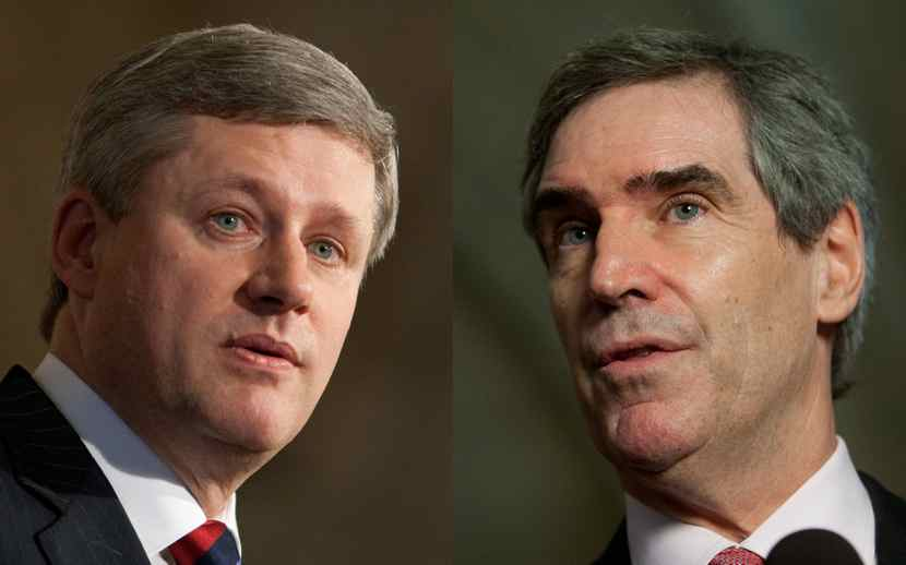Prime Minister Stephen Harper and Liberal Leader Michael Ignatieff are seen as they speak with the media following caucus meetings on Parliament Hill in Ottawa, June 17, 2009.