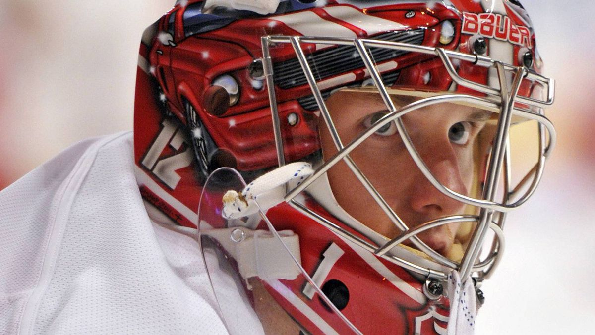 Detroit Red Wings goalie Jimmy Howard (35) before the game against the Chicago Blackhawks at the United Center. Rob Grabowski-US PRESSWIRE