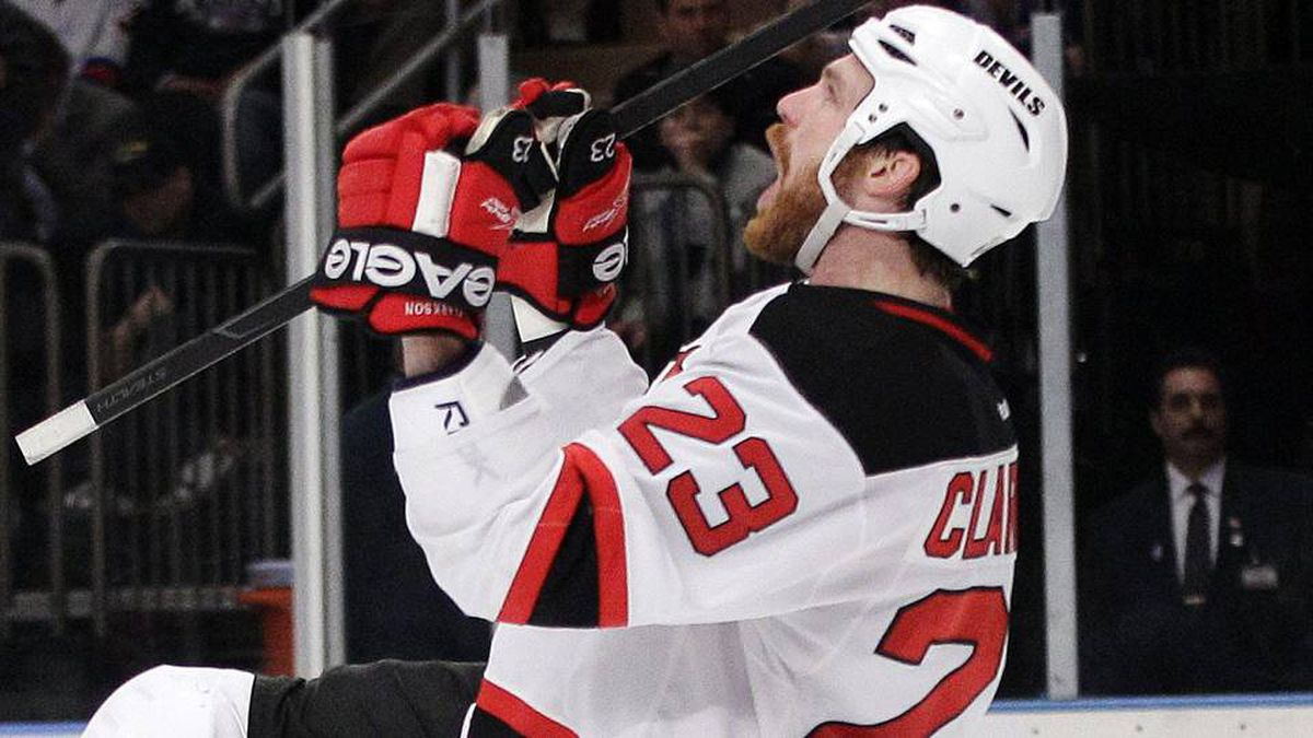 New Jersey Devils' David Clarkson celebrates after scoring during the third period of Game 2 of the NHL hockey Stanley Cup Eastern Conference final playoff series.