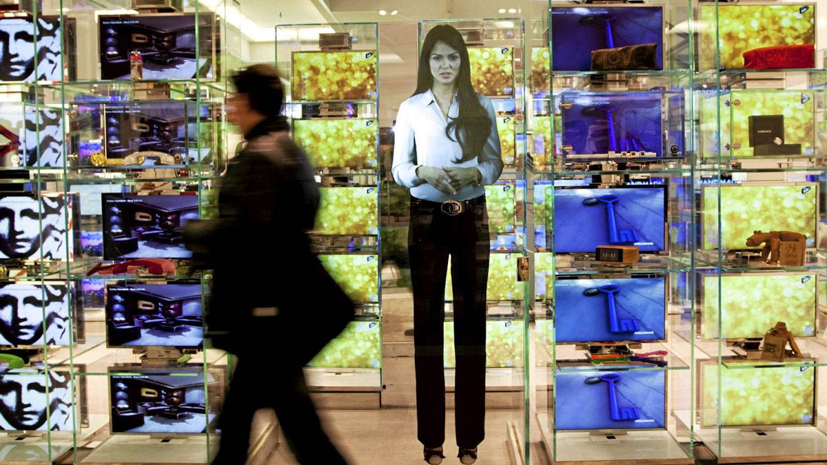 Anna is a digital image that functions as a virtual greeter at the Bay's flagship downtown Toronto store.