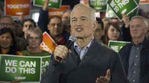 NDP Leader Jack Layton speaks at a campaign rally in Edmonton on Wednesday, April 27, 2011.