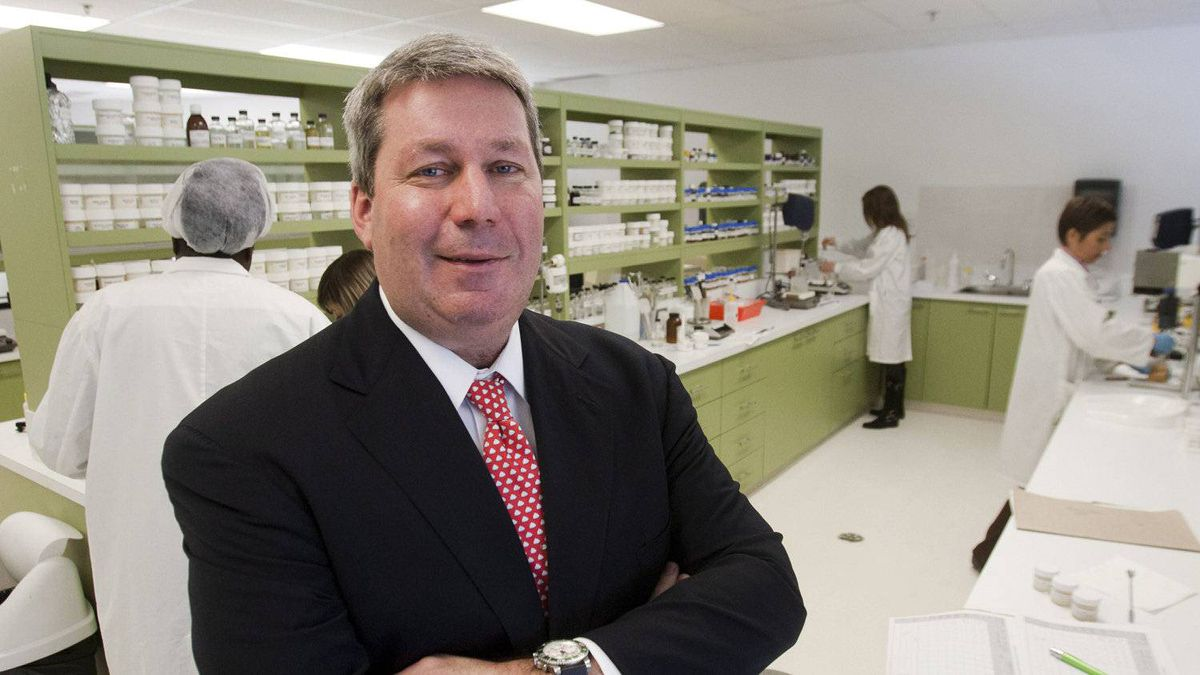 Valeant CEO Michael Pearson is seen in one of the company's laboratories Tuesday, April 3, 2012 in Laval, Que.