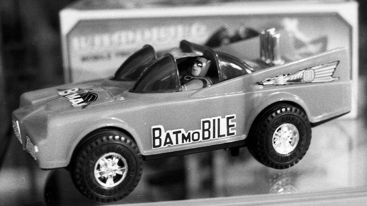 A toy batmobile for sale at the Silver Snail in Toronto in 1989.