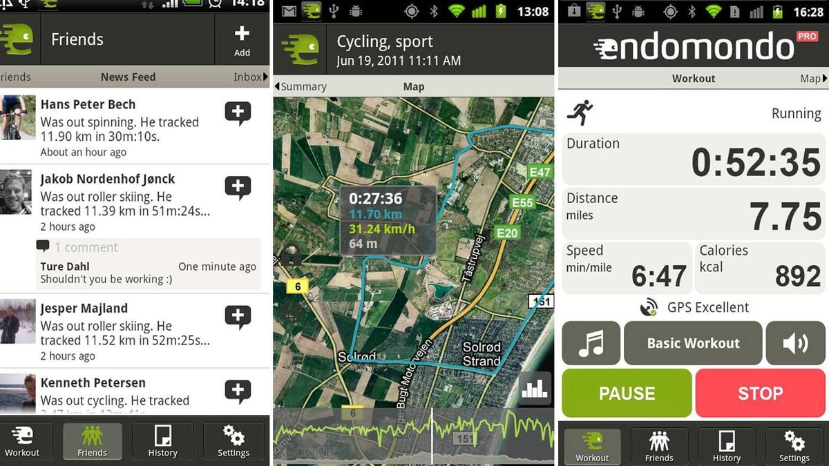 Endomondo Sports Tracker Pro ($4.18) Endomondo is a sports tracker app that goes with you when you run, cycle, or play. It's like having a personal trainer or fitness partner with you, measuring your progress and challenging you to do better. The free version of Endomondo includes real time GPS tracking of your time, distance, and speed on a map. Your history is saved (with lap times) so you can compete against yourself or against a friend. News feeds show which of your friends are currently active, and keep a record of your friends' latest activities. Endomondo works with popular exercise monitor accessories including Wearlink+ (for running) and ANT+ (for cycling). An optional profile at Endomondo.com gives you further analysis, statistics, social challenges and sharing features. The Pro version of Endomondo adds several premium features including graphs and analysis of your activity, audio coaching to help you compete with your previous workouts, and a low power mode that increases battery standby time.
