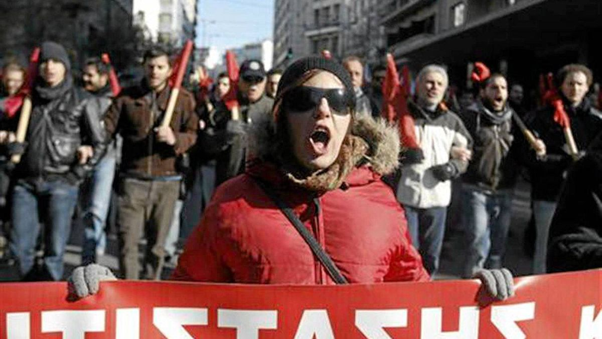 Anti-austerity protestors march in Athens last week.