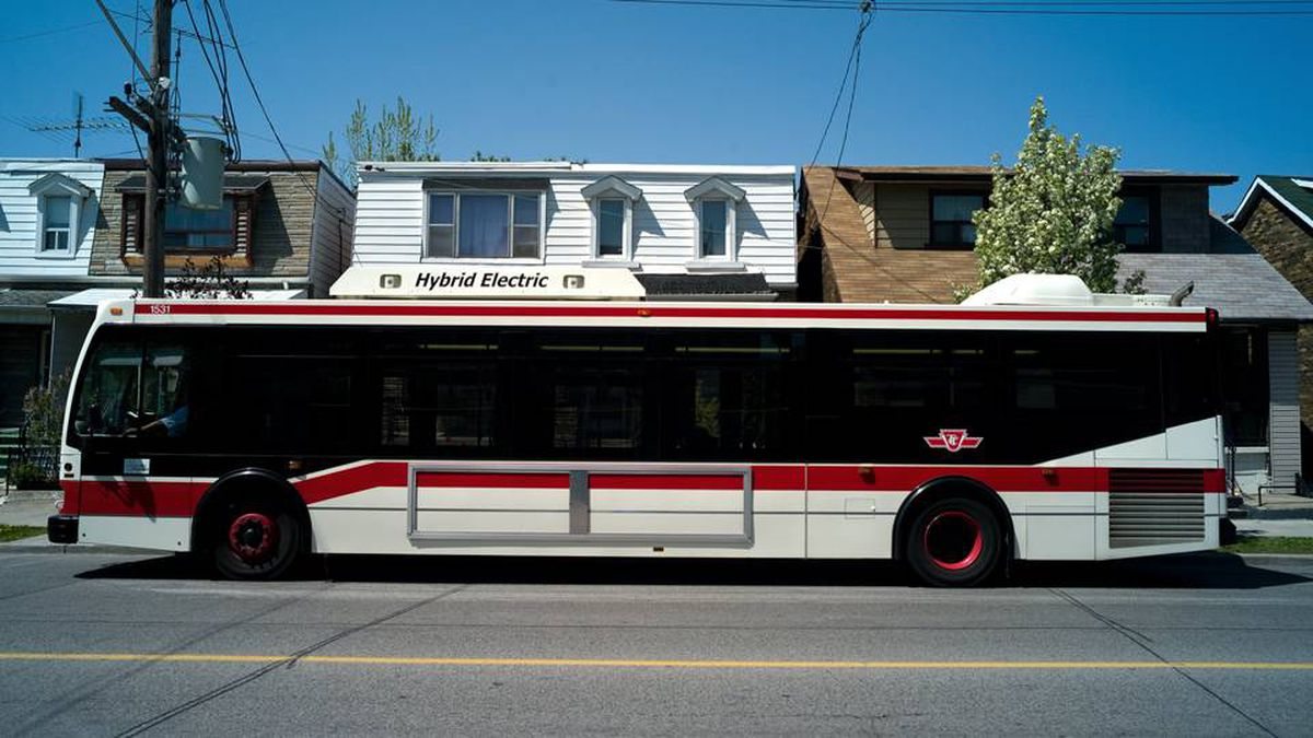 A hybrid TTC bus stops on Landsdowne avenue in this May 2008 photo. The TTC has suspended an employee after a video surfaced showing a driver taking a mid-route seven minute coffee break.