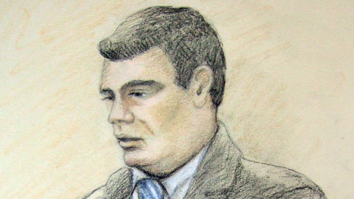 In this artist's sketch, Michael Rafferty is shown in court during victim impact statements in London, Ont., Tuesday, May 15, 2012.