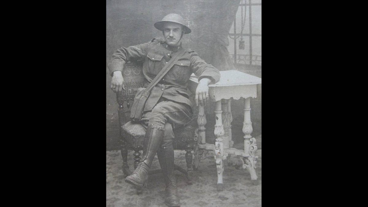 "Arthur ""Geoff"" Christie is pictured in this July 12, 1917 photo, taken in France. Writes his granddaughter: ""A few months later he was a victim of early chemical warfare, blinded in a mustard gas attack. He survived, and his eyesight eventually returned. He spoke little of his wartime experiences. As a child I thought it funny when he shouted in his sleep. Now I know better."""
