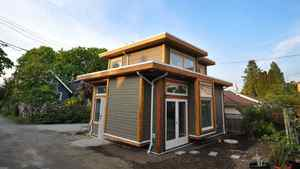 Side view of the laneway home. The interior living space totals 500 square feet.