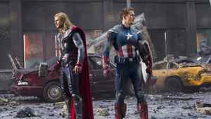 Chris Hemsworth, left, and Chris Evans in The Avengers.
