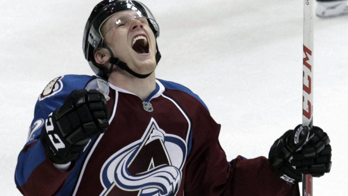 Colorado Avalanche left winger Gabriel Landeskog, from Sweden, celebrates scoring the winning goal against the Anaheim Ducks during overtime of an NHL hockey game Monday, March 12, 2012, in Denver. Colorado beat Anaheim 3-2 in overtime. (AP Photo/Jack Dempsey)