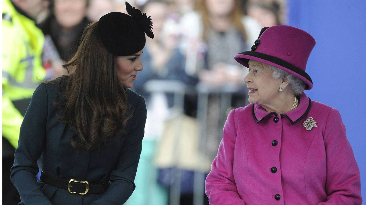 With her husband on tour in the Falkland Islands, the Duchess of Cambridge and Queen Elizabeth make an appearance at De Montfort University in Leicester, the first stop on the Diamond Jubilee tour.