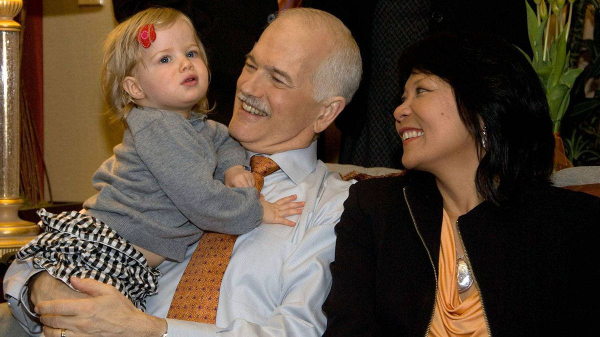 New Democratic Party leader Jack Layton and wife Olivia Chow and granddaughter Beatrice watch election results prior to their parties election event in Toronto, Ont., on Monday, May 2, 2011.