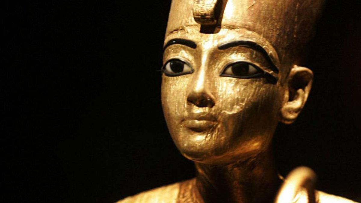 A gilded wood artifact, Tutankhamun as the King of Upper Egypt, from the tomb of the Egyptian boy King Tut.