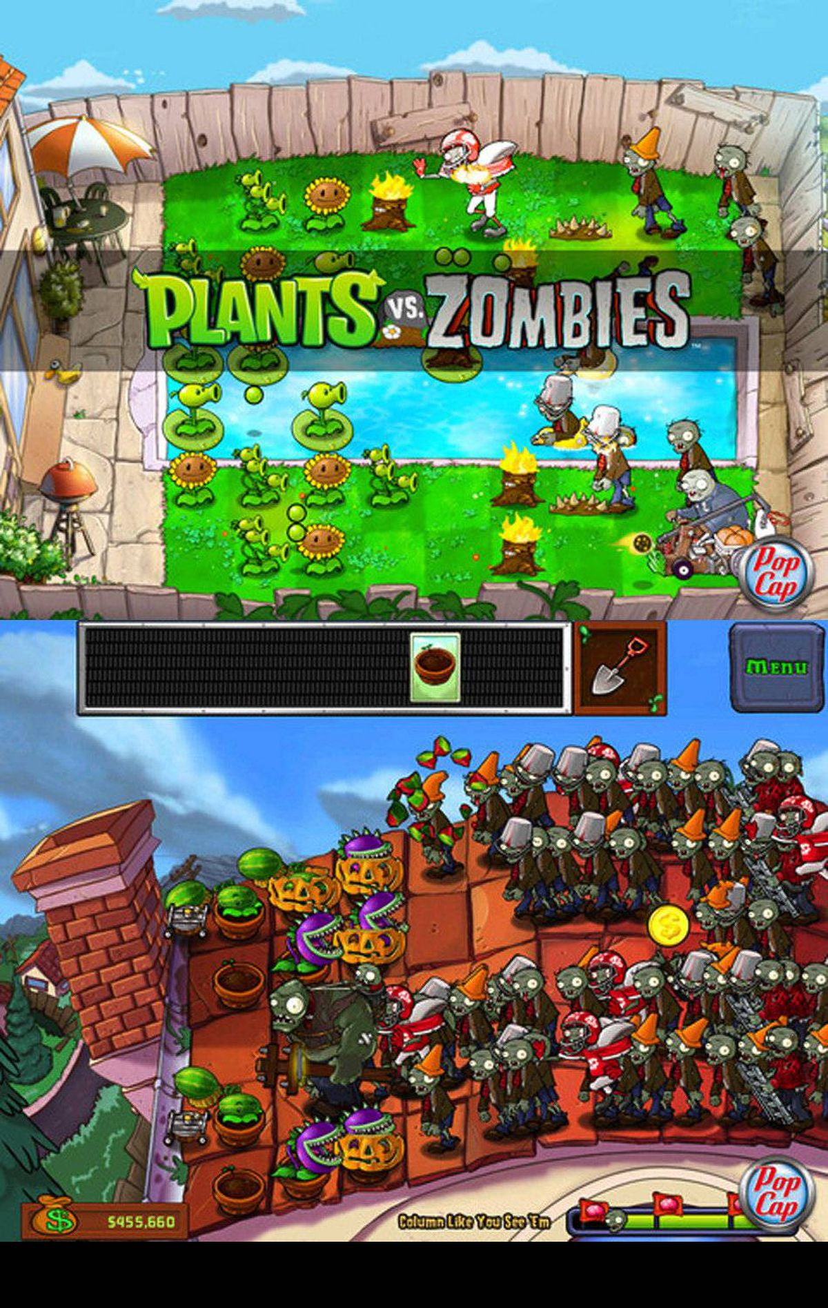"Plants vs Zombies HD ""The zombies... are coming!"" says an ominous, raspy voice. Your job is to defend your home from an undead mob. The only weapons at hand are the plants in your garden. If the zombies reach your door, they will eat your brains. This sounds like a dark game but it's not. The plants are friendly, the zombies are silly, and their battles are imaginative and charming. Gather up sunshine and use it as fuel to grow pea shooters, corn cannons and frozen melons that will slow down, confuse, and decapitate the zombies before they reach your door. The big screen HD version for iPad has great graphics and nice animations. It also makes use of the iPad's multi-touch gestures, so you can protect your home with more than one finger. At $6.99, PvZ is more expensive than many other games for iPad, but it's also one of the best. I can't count how many hours I've spent playing this game. (popcap.com)"