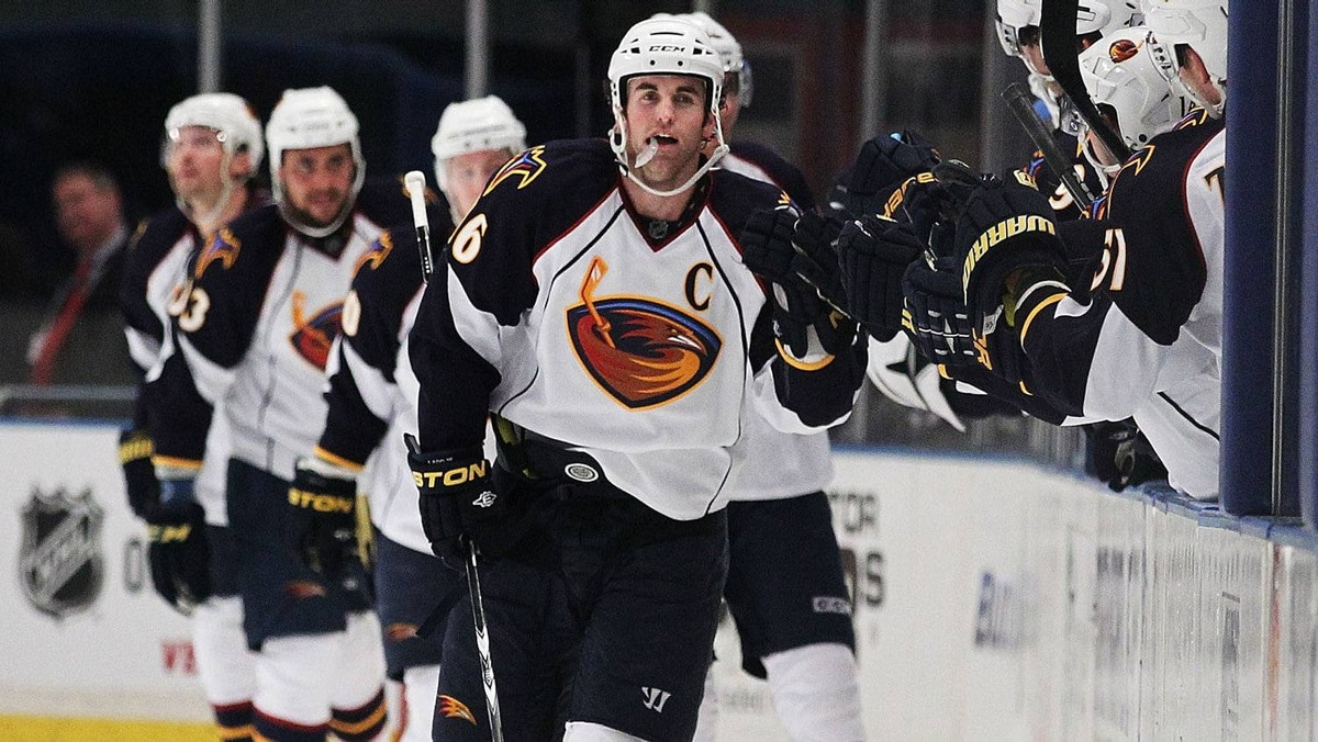 Andrew Ladd #16 of the Atlanta Thrashers celebrates his goal against the New York Rangers during their game on April 7, 2011 at Madison Square Garden in New York City, New York.