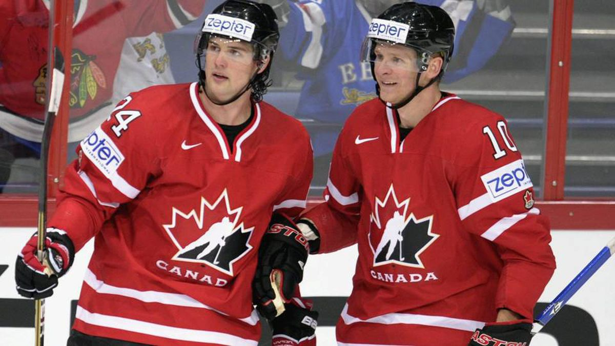 Canada's Jamie Benn and Corey Perry, right, celebrate Benn's opening 1-0 goal of a match between Canada and Slovakia during the 2012 IIHF Ice Hockey World Championships in Helsinki, Finland on Friday