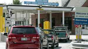 Cars line up at border crossing in Richford, Vt., in August of 2011.