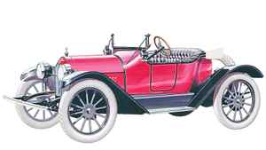 "This artists rendering shows a 1914 Chevrolet Royal Mail, proudly sporting Chevrolet's then-brand-new bowtie emblem. The $750 Series H ""Royal Mail"" roadster for 1914 was a spirited and affordable 4-cylinder car that appealed to young buyers."