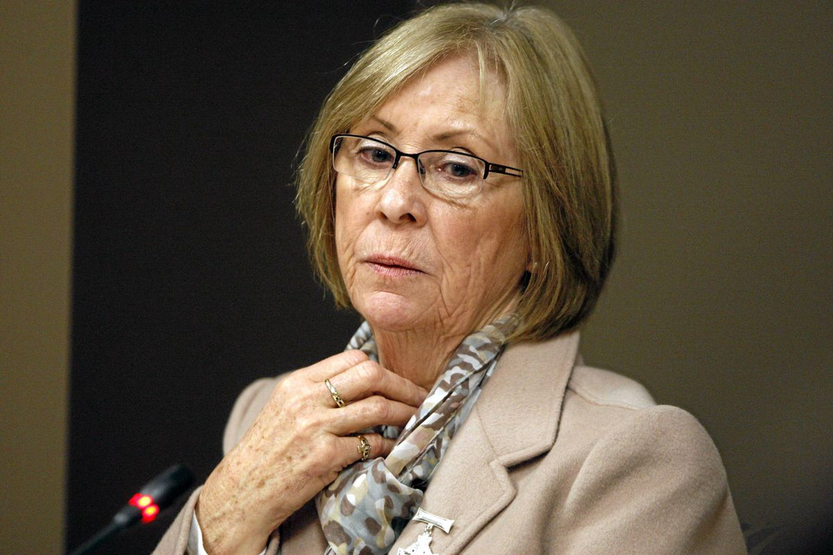 Sheila Fynes attends a Military Police Complaints Commission hearing into the suicide of her son, Cpt. Stuart Langridge, in Ottawa, Thursday, April 26, 2012.