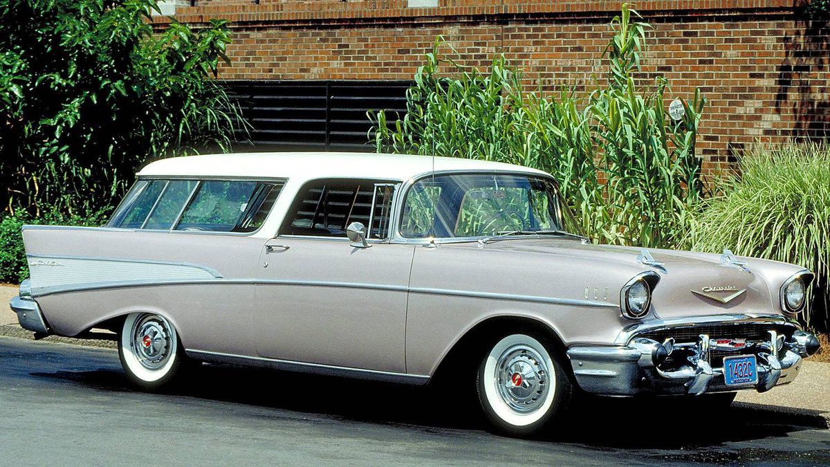 """1957 Chevrolet Bel Air Nomad, featuring a sleek roofline first seen on the 1954 GM Motorama Corvette """"Nomad"""" concept station wagon."""