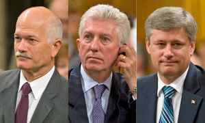 NDP Leader Jack Layton, Bloc Quebecois Leader Gilles Duceppe and Prime Minister Stephen Harper are show in a photo combination voting for the minority Conservative government's budget motion in the House of Commons on Sept. 18, 2009.